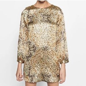 ZARA NWT Gold Mini Dress with open back Size Small